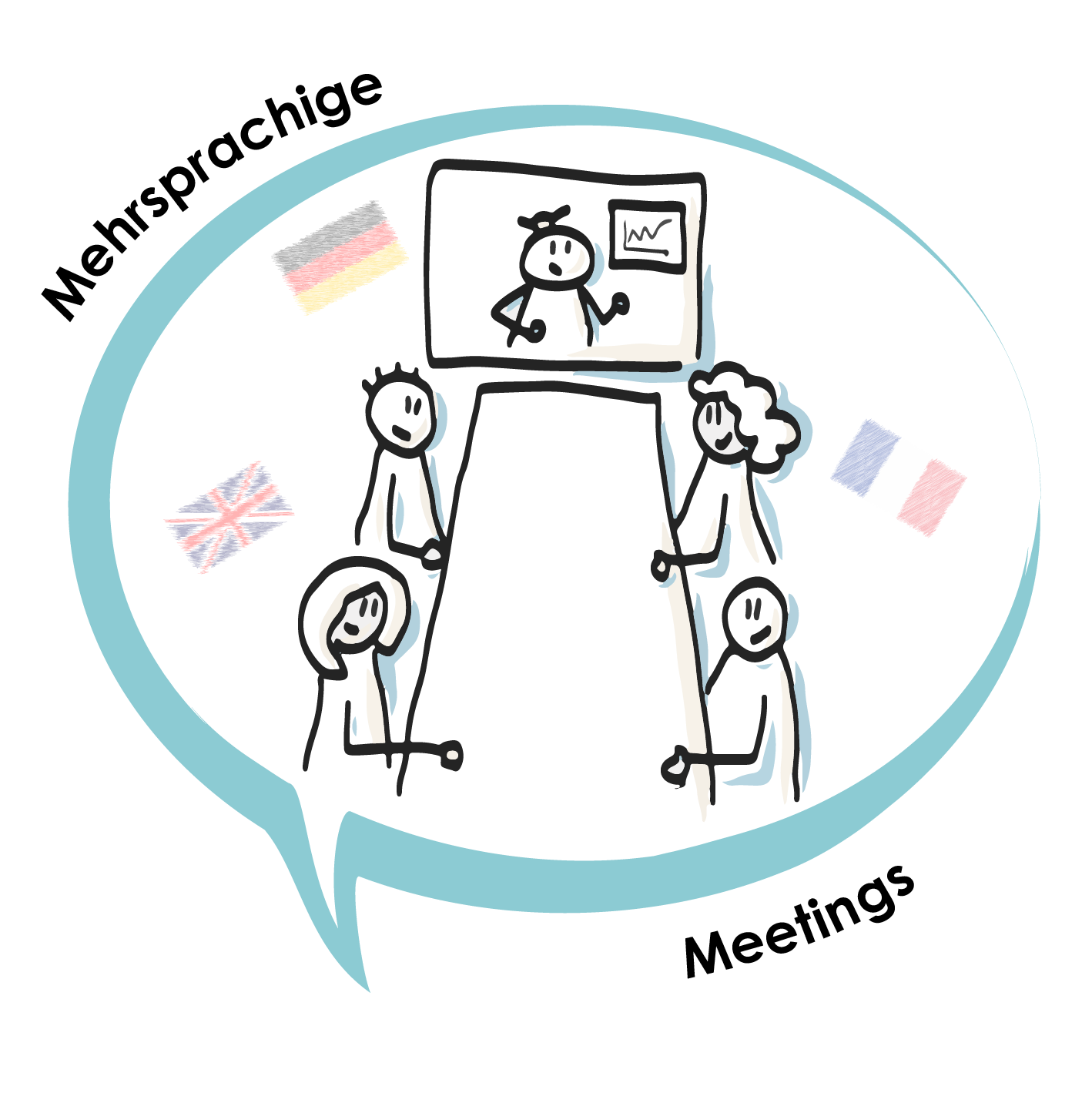 Sketch Icon Mehrsprachige Meetings Flags DE
