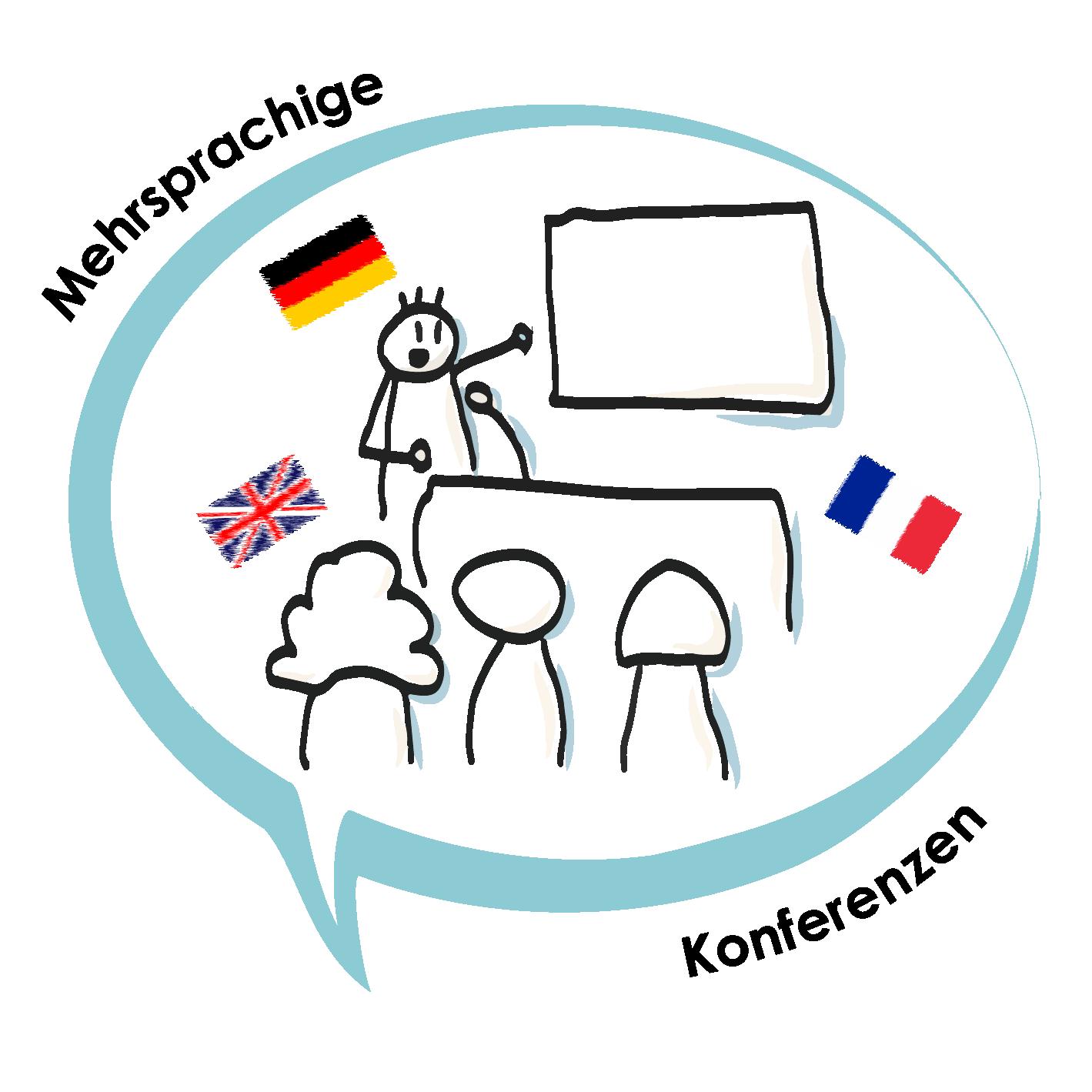 Sketch Icon Mehrsprachige Konferenzen Flags DE